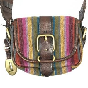 fossil multi striped vintage collection purse